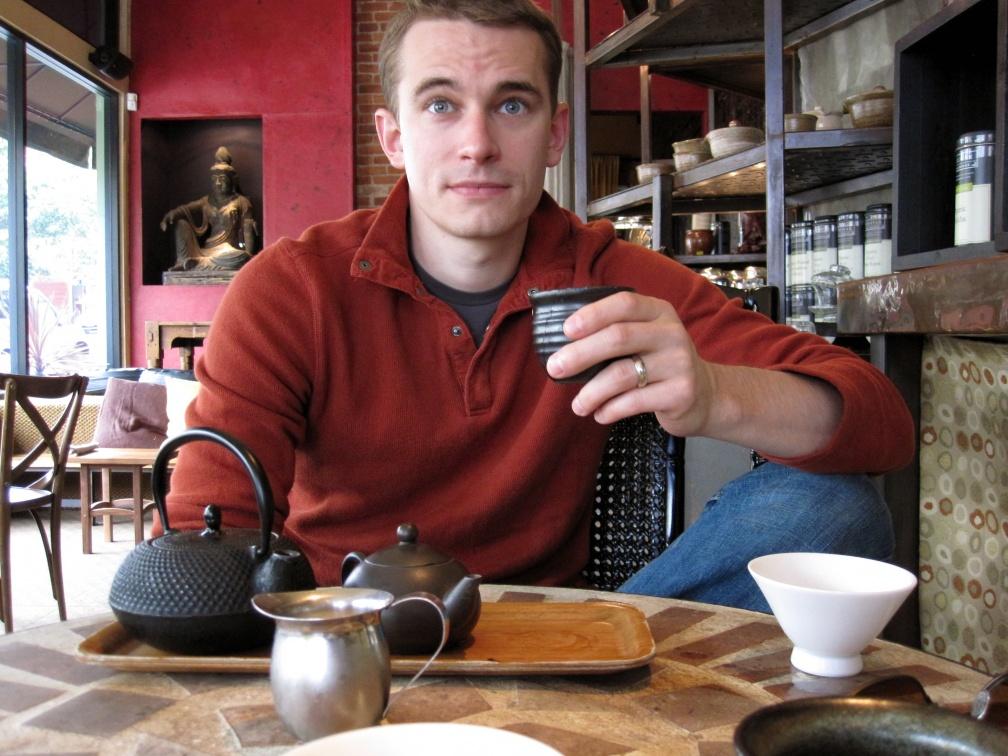 Bryan with tea at Samovar