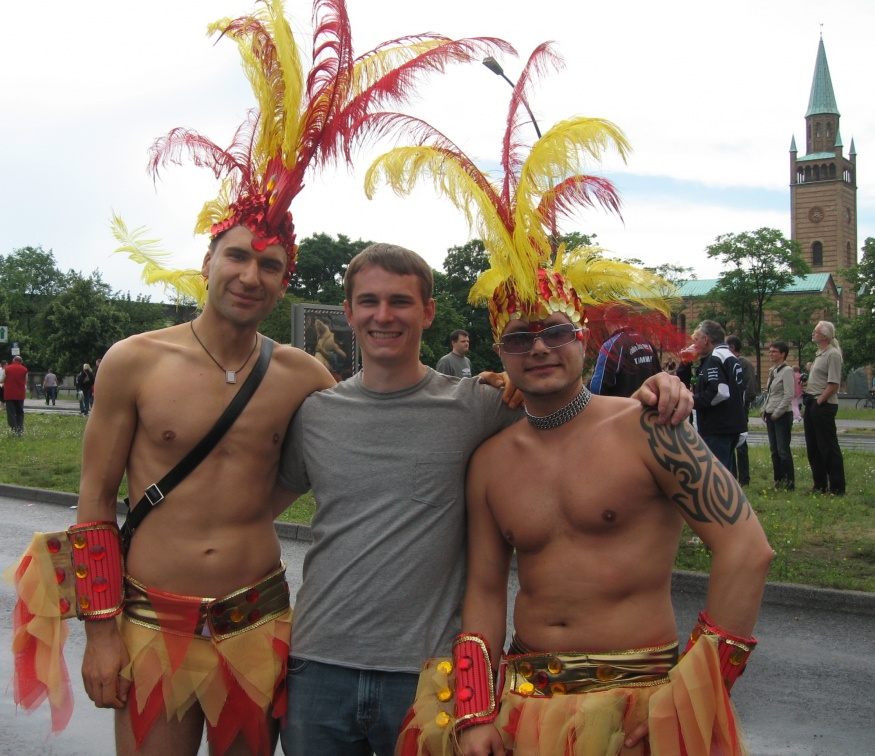 bryan with feathered men