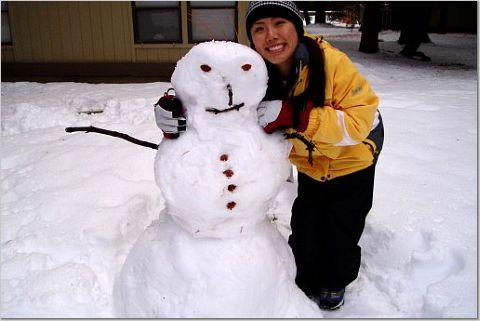 stacy and snowman